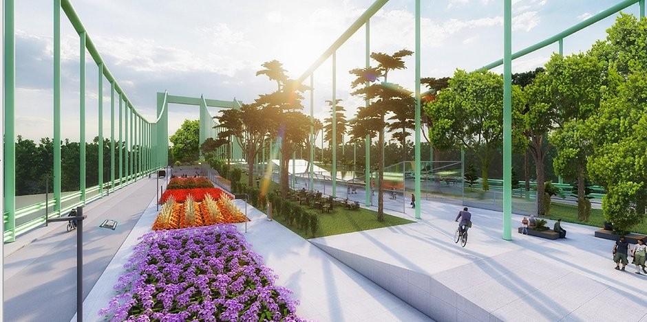 Eine Vision: Die Rodenkirchener Brücke als begrünter Aufenthaltsort mit Spielplatz und Biergarten, Bild: CDU Rodenkirchen